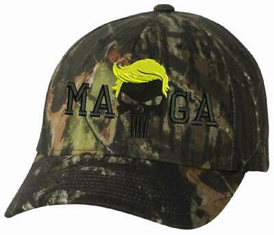 2f42707850 Donal Trump Hat Punisher Camoflauge 6999 Flexfit Mossy Oak Camo Hat MAGA hat
