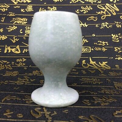 Ancient Chinese hand-carved pure white jade cup