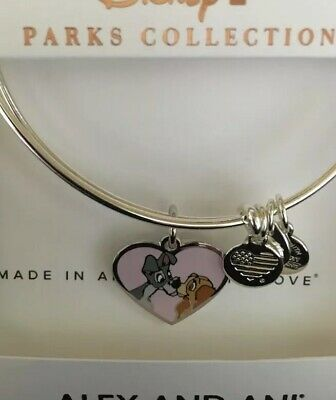 Disney Parks Alex And Ani Lady And The Tramp Together Forever Silver Bracelet