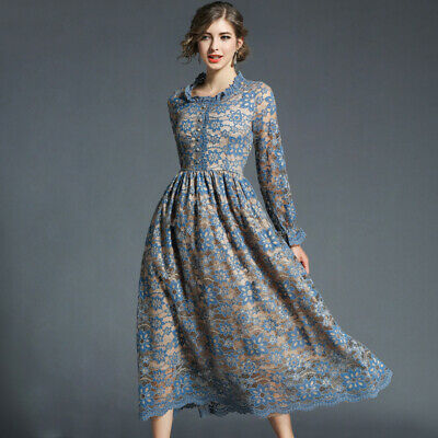 New 2019 Women Lace Hook Flower Hollow Out Casual Slim Vintage Party Maxi Dress