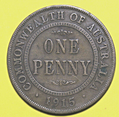 1915 KGV  - AUSTRALIAN PENNY - RARE  -  Circulated Coin,  Great Investment
