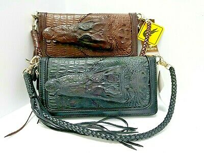 Genuine Crocodile Skin & Head Wallet Purse Leather Zip Wrist Strap Brown Black