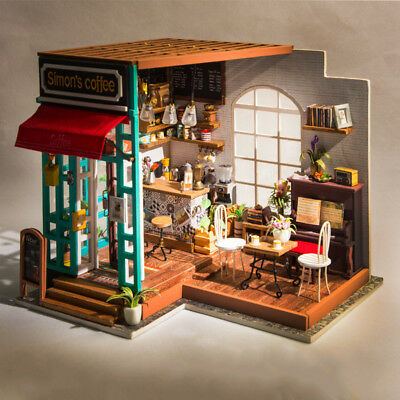 Robotime  DIY Dollhouse Kit Miniature Coffee House Kits with Furniture LED Light
