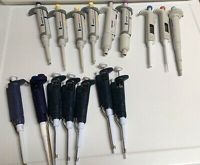 Lot of 16 Pipettes Rainin Gilson Eppendorf Thermo Single Channel