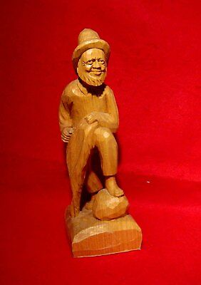"FISHERMAN WOOD CARVING SIGNED by ARTIST FORTIN 9 3/8"" QUEBEC, CANADA"