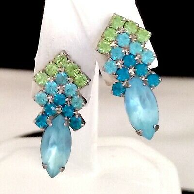 Vintage Silver Tone Dangle Clip On Earrings Multi-Color Green Blue Rhinestones