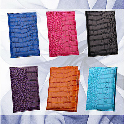 KE_ Fashion Alligator Embossing Faux Leather Passport Holder Organizer Case Ca