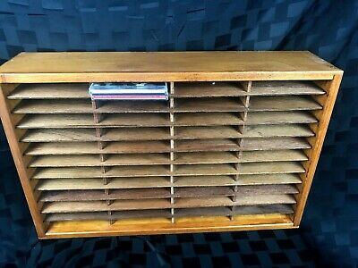 """Stained Napa Valley Wooden Storage Box 48 8-Track Tapes 96 CD Rack 23x14.5"""""""