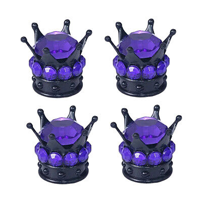 4x kings Queen Crown Tyre Tire Wheel Valve Stems Air Dust Cover Cap Purple