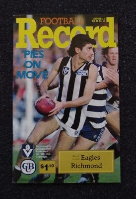 West Coast Eagles vs Richmond Tigers 1989 AFL VFL Football Record Vol.78 No.18
