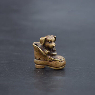 Collection Beautiful archaize brass dog small statue