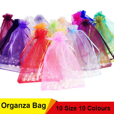 Small / Large Organza Gift Bag Pouches Wedding Party Jewellery Favour 100 50 25