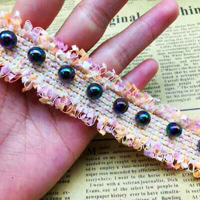 1 Yd Nylon Pearl Vintage Embroidered Lace Trim  Sewing Craft Fabric Trimmings