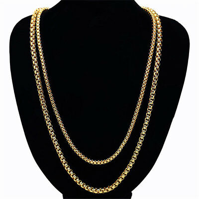 5mm 7mm Womens Mens Chain Box Link Gold Tone Stainless Steel Necklace Bracelet