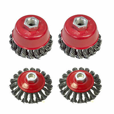"""New Twist Knot Wire Wheel Cup M14 Crew Brush Sets for 4.5"""" 9"""" Angle Grinder 4"""" 3"""