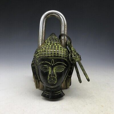 Rare Chinese old brass sculpture Buddha image lock and key