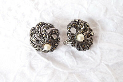 Stunning Vintage Art Deco Sterling Silver Faux Pearl Earrings Clip On 925
