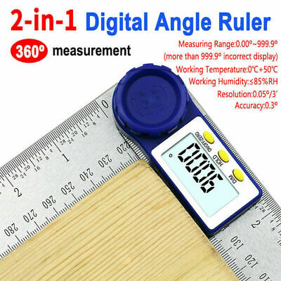 0-200MM 360 Degree Digital Angle Finder Meter Ruler Gauge Protractor 2 In 1 BE