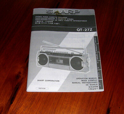 Vintage SHARP QT-27Z Stereo Cassette Recorder Operation Manual