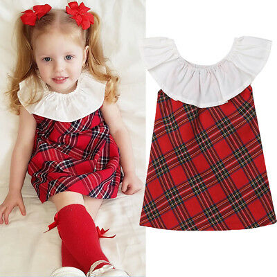 Plaid Toddler Baby Girls Dress Sleeveless Party Casual Dresses Kids Clothes