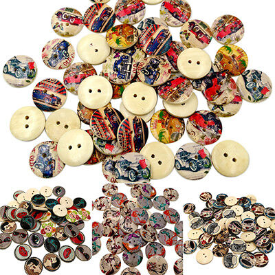 KE_ 50x Retro Style 2 Holes Mixed Wood Buttons Sewing Clothes DIY Scrapbooking