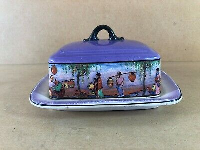 Vintage Butter Dish With Lid, L And Sons, Hanley 1920s, Purple, Oriental Picture