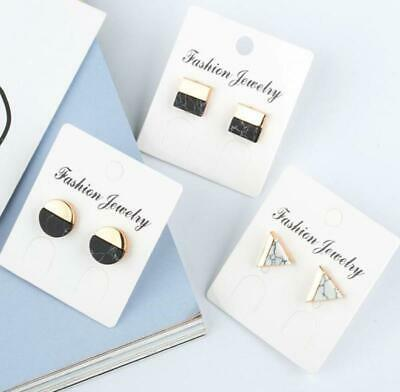 Geometric Round Triangle Square Marble Pattern Punk Ear Earrings Stud Gift New