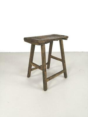 Vintage Rustic Antique Wooden Stool Milking Large Waxed W120