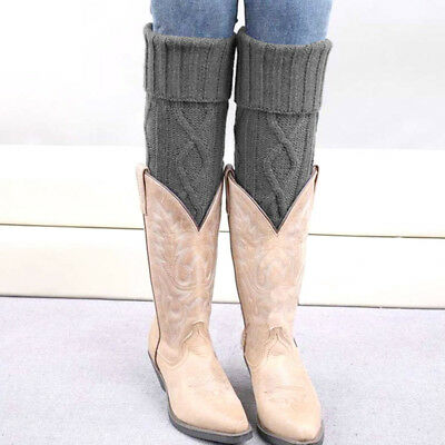 Women Crochet Knitted Leg Warmers Solid Color Winter Knee High Legging Boot Sock
