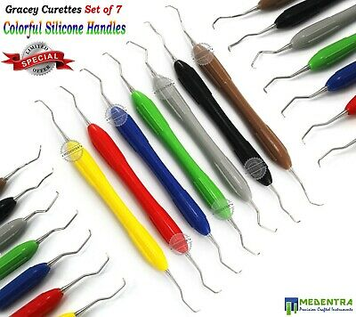 7Pcs Dental Periodontists Gracey Curettes Root Canal Cavities Silicon Handle Set