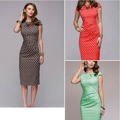 Ladies Sexy Crew Neck Short Sleeve Wave Dots Point Casual Bodycon Dress LH