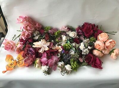 HUGE lot craft faux artificial flowers & foliage rose peonie butterfly variety