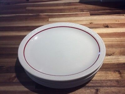 Vtg Syracuse China Platter Lot Of 6 Red Ring Scallop 11.5x9.25 Restaurant Ware