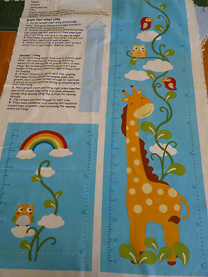 CUTE GIRAFFE Growth Chart Quilting Cotton Panel