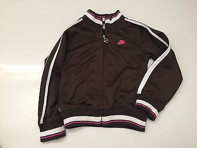 Girls Youth Nike Zip Up Front Jacket Brown Pink Size 6 Baseball Track Sport EUC