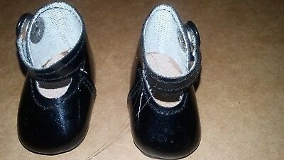 Vintage Dolls Shoes - black - 4.5 cm x 2 cm - press stud closure.