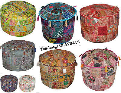 5 Pcs Lot Of handmade Patchwork Round Pouf Cover Ottomans Footstool Pouffe 22""