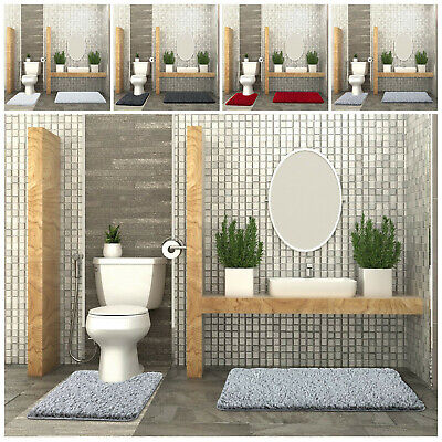 Large 2 Piece Non Slip Thick Bath Mat & Toilet Pedestal Set Soft Bathroom Rugs