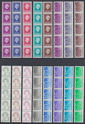 Netherlands, 16 Stamp Strips of 5, very good stamps, MNH