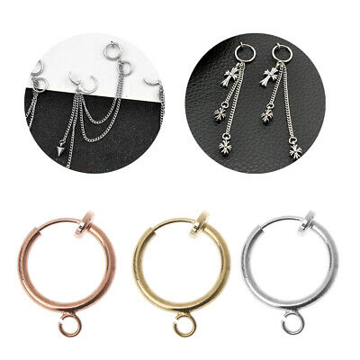 10Pcs Brass Round Hoop Clip with Loop For Earring Charms Jewelry Findings DIY