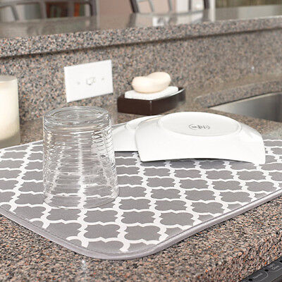 Dish Washing Up Drying Mat Absorbent Kitchen Non Slip Drainer Sink Glass LH