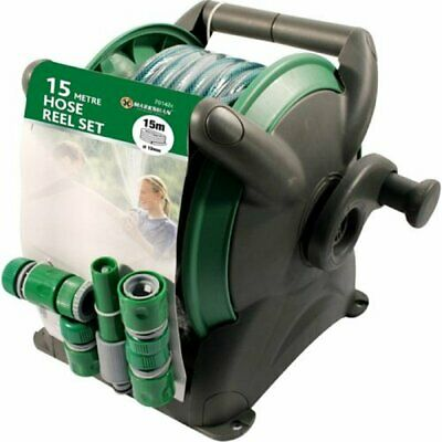 15M Garden Hose Pipe & Compact Wall Reel Fittings Set Free Standing Wall Mounted