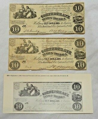 Two 1861 $10 Dollar Bills VA Confederate States Civil War Currency Paper Money