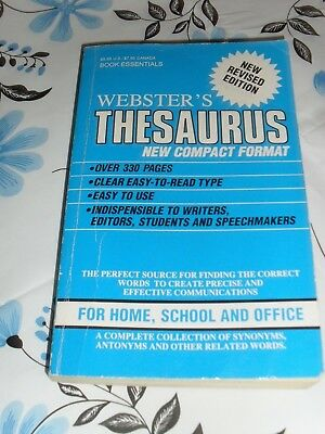 Webster's Thesaurus compact format Book Essentials Publication 1988 paperback
