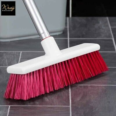 "Red Brush B1059 279mm 11"" Stiff Sweeping Broom Hygiene Salmon Hillbrush"