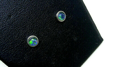 Sterling Silver 925 Genuine Coober Pedy Opal Triplet Stud Earrings