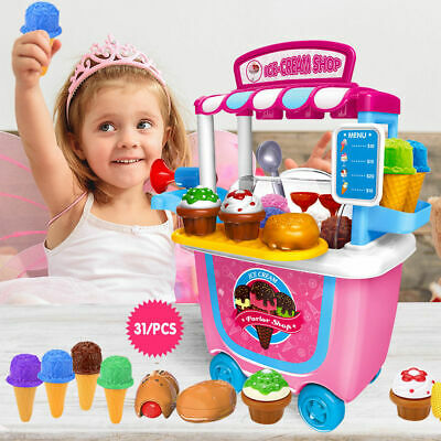 31 Pcs Kids Toddler Ice Cream Cart Shop Trolley Toy Pretend Play Set With Horn