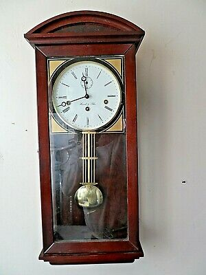Large Wooden Cased Hermle & John Westminster Chime 8 Day Sub Dial Wall Clock Gwo