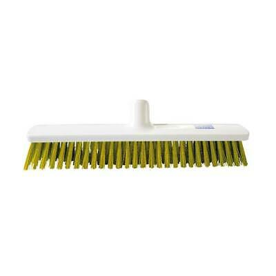 40cm Hygiene Broom Medium large Food Safe autoclavable Yellow Sweeping Brush