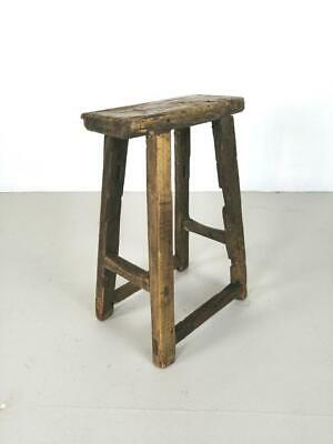 Vintage Rustic Antique Wooden Stool Milking Large Waxed W119